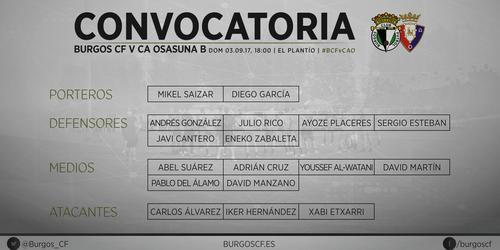 Convocatoria de Patxi Salinas para el partido V CA Osasuna B