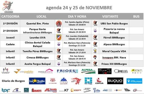 Calendario de partidos para el 24 y 25 de noviembre