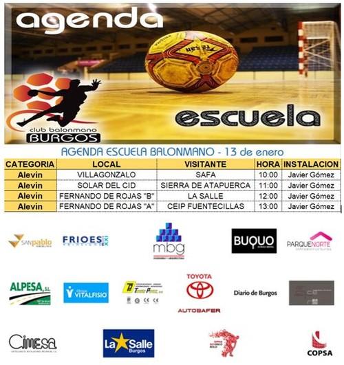 Agenda de la escuela de balonmano sábado 13 de Enero