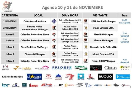 Calendario de partidos para el 10 y 11 de noviembre