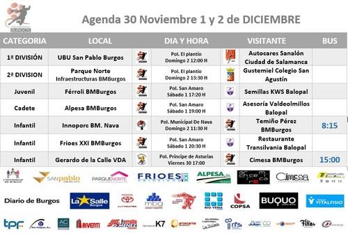 Calendario de partidos del fin de semana 1 y 2 de diciembre