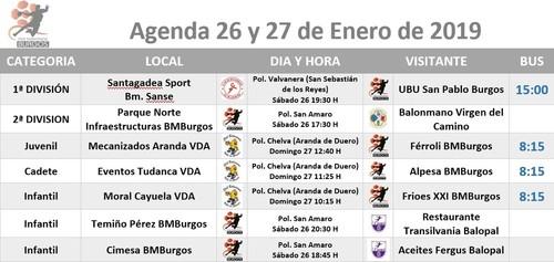 Calendario de partidos para el 26 y 27 de enero