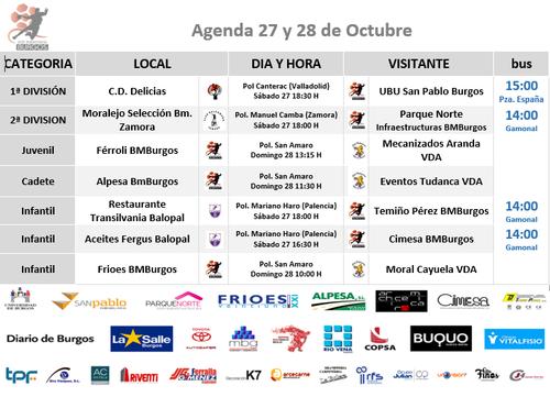 Agenda de fin de semana 27 y 28 de Octubre