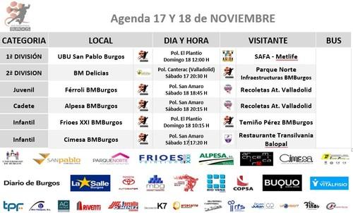 Calendario de partidos semana 17 y 18 de noviembre