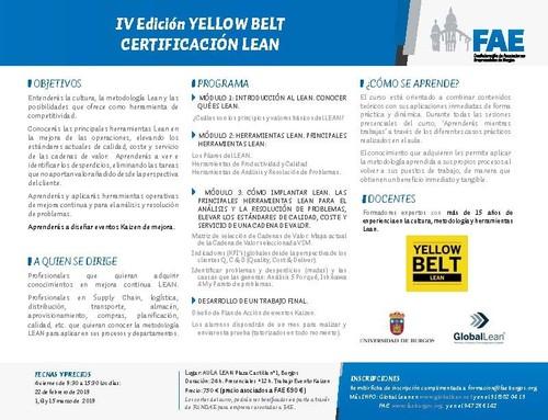 IV Edición YELLOW BELT CERTIFICACIÓN LEAN. CURSO COMPLETO