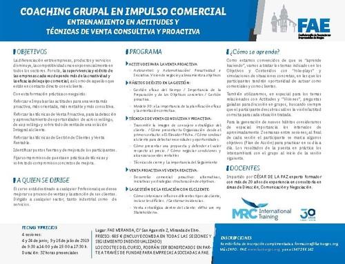 CURSO PRACTICO COACHING GRUPAL EN IMPULSO COMERCIAL (ENTRENAMIENTO EN ACTITUDES Y TÉCNICAS DE VENTA)