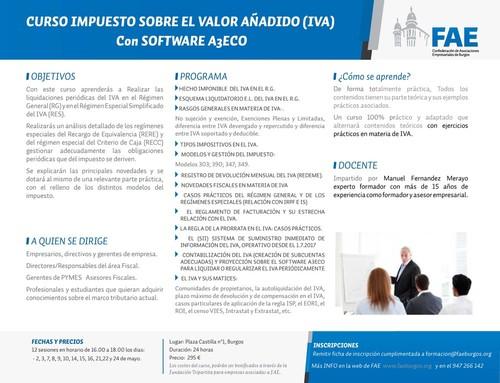 CURSO IMPUESTO SOBRE EL VALOR AÑADIDO (IVA) Con SOFTWARE A3ECO