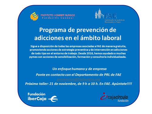 Programa de prevención de  adicciones en el ámbito laboral