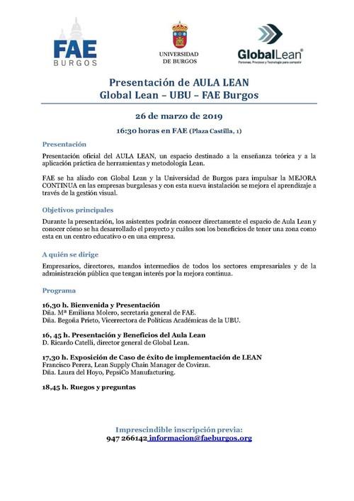 Presentación de AULA LEAN. Global Lean – UBU – FAE Burgos