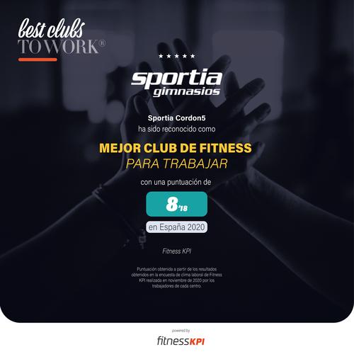 Sportia Gimnasios elegido el Mejor Club de Fitness Para Trabajar en España
